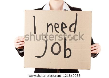 Businesswoman holding sign I