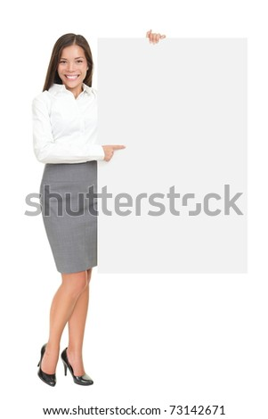Businesswoman holding white blank empty billboard sign with copy space for text. Beautiful young mixed race Asian Caucasian woman isolated on white background in full length.