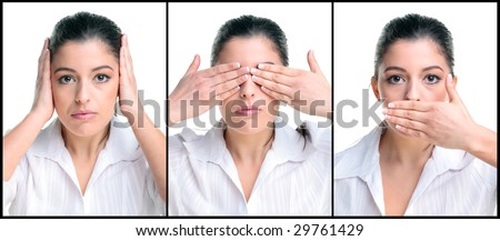 Businesswoman image of the saying Hear no See no Speak no evil. - stock photo