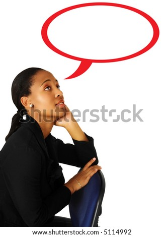 businesswoman in black suit leaning on her hand while thinking with speach bubble