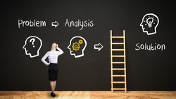 businesswoman in front of a blackboard with message PROBLEM - ANALYSIS and a ladder leading to SOLUTION