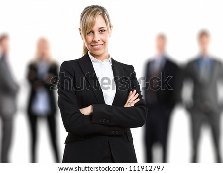 Businesswoman in front of his team
