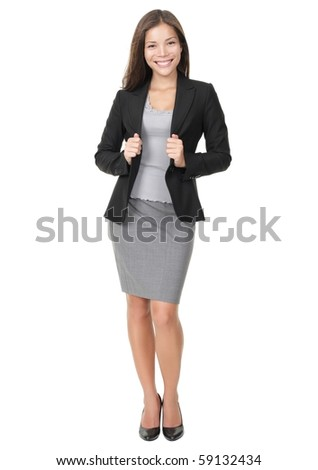 Businesswoman in full length confident, smiling and ready! Isolated on white background. Young mixed race Chinese / white woman model.