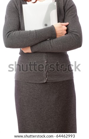 businesswoman in grey with folder, isolated on white