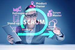 Businesswoman in SCRUM agile method concept