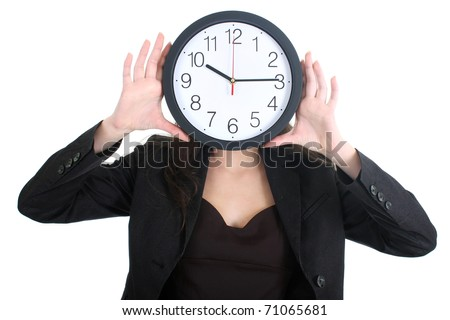 Businesswoman in suit holding a clock over white