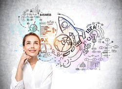 Businesswoman in white shirt near sketch with icons of rocket, light bulb, globe, bar and pie diagrams, teamwork, plan, smartphone, success, message, teamwork and cogwheels. Concept of creative idea
