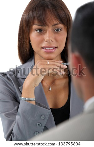 businesswoman interviewing a...
