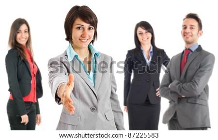 Businesswoman introducing her team