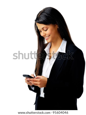 businesswoman is happy and using her phone to text message isolated on white