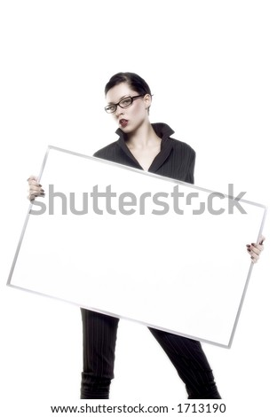 businesswoman is holding blank board