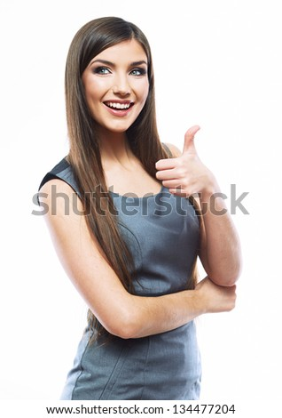 Businesswoman isolated on white background show thumb up