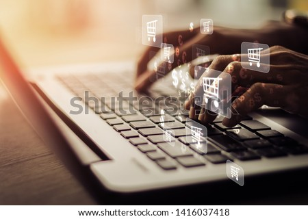 Businesswoman laptop using , online shopping concept.Vintage concept Stockfoto ©