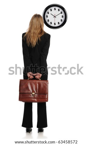 Businesswoman looking at a dollar clock as a concept that time is money