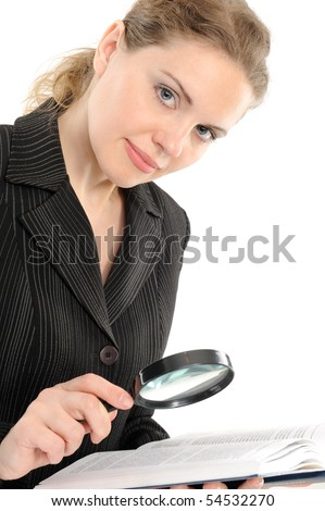 Businesswoman looking the book with magnifying glass on a white background