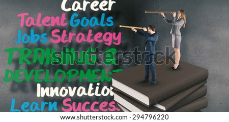 Businesswoman looking through a telescope against buzz words in room