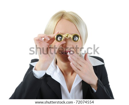Businesswoman looking through binoculars. Isolated on white background
