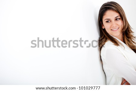Businesswoman looking to the side over a white background