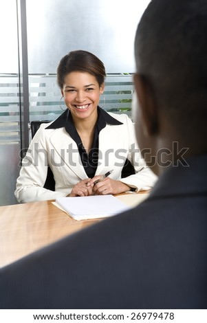 Businesswoman meeting with businessman