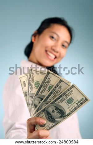 Businesswoman offering some free cash