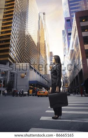 Businesswoman on a city street