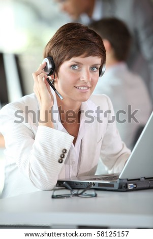 Businesswoman on a video conference