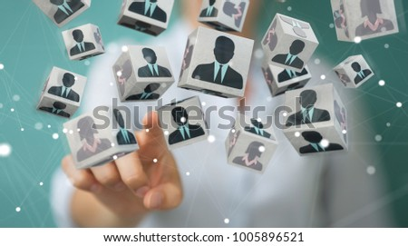 Businesswoman on blurred background choosing candidate for a job 3D rendering Сток-фото ©