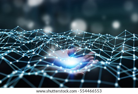 Businesswoman on blurred background holding flying network dot 3D rendering #554466553