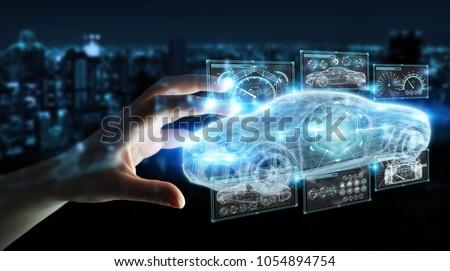 Businesswoman on blurred background modern smart car interface 3D rendering
