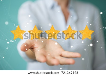 Businesswoman on blurred background rating with hand drawn stars #721369198
