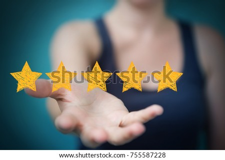 Businesswoman on blurred background rating with hand drawn stars #755587228