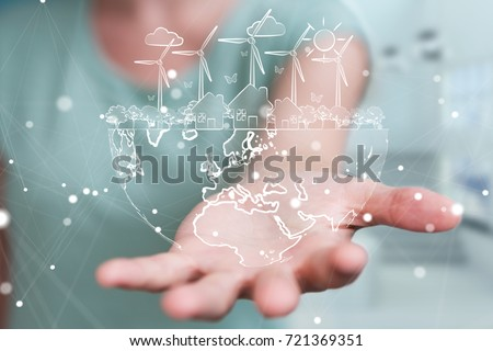 Businesswoman on blurred background touching and holding renewable energy sketch