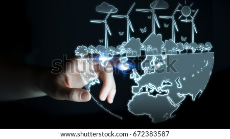 Businesswoman on blurred background touching renewable energy sketch #672383587