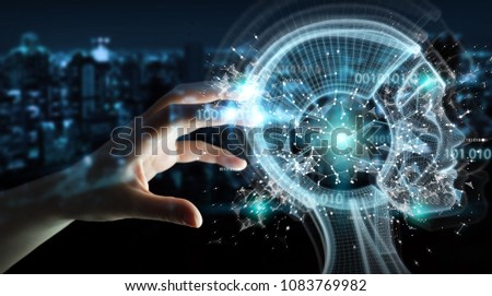 Businesswoman on blurred background using digital artificial intelligence interface 3D rendering #1083769982