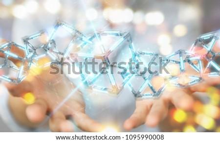 Businesswoman on blurred background using digital blue Blockchain 3D rendering #1095990008
