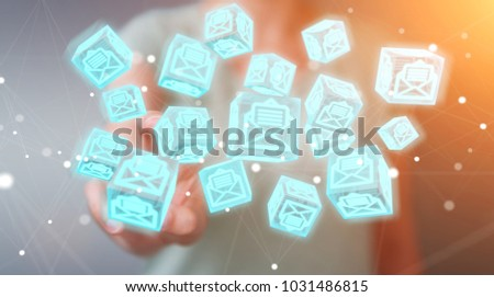 Businesswoman on blurred background using floating cube emails 3D rendering #1031486815