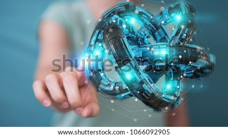 Businesswoman on blurred background using futuristic torus textured object 3D rendering #1066092905