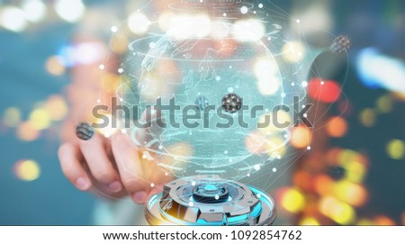Businesswoman on blurred background using globe network with digital connection 3D rendering