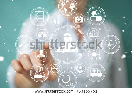 Businesswoman on blurred background using modern medical interface 3D rendering
