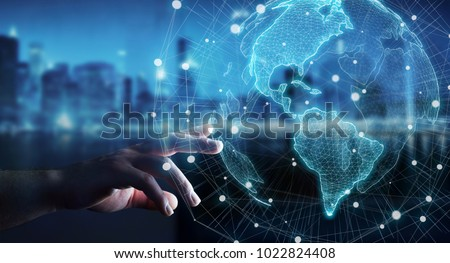 Businesswoman on blurred background using USA world map interface 3D rendering