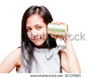 businesswoman on call by tin can phone