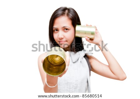 businesswoman on call with tin can phone - stock photo