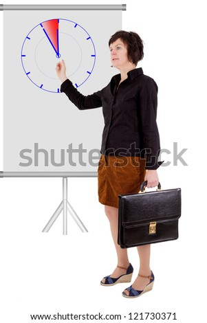 Businesswoman pointing at the clock