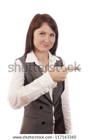 Businesswoman pointing her finger on empty copy space, isolated over white background - stock photo