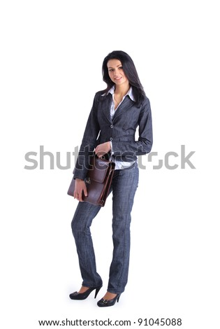 Businesswoman portrait full length holding a briefcase