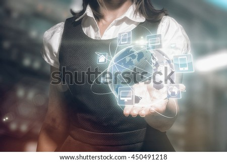 Businesswoman presenting against view of data technology #450491218