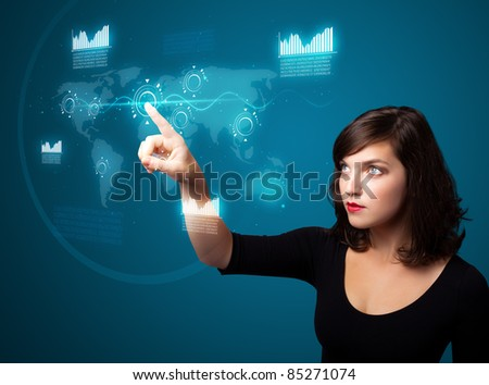 Businesswoman pressing high tech type of modern buttons on a virtual background