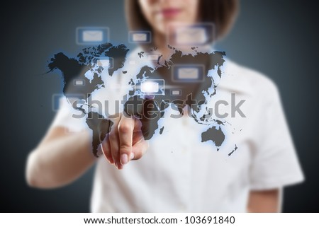 Businesswoman pressing messaging type of modern icons