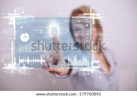 Businesswoman pressing modern technology panel with finger print reader