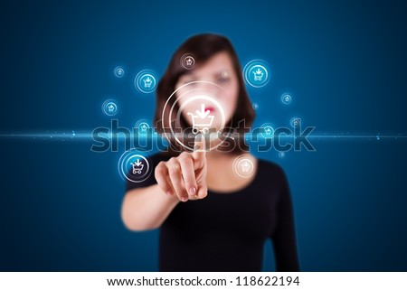 Businesswoman pressing promotion and shipping type of modern buttons